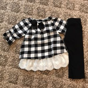 Black and white plaid outfit